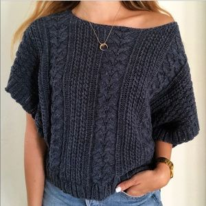 Denim & Supply Blue Knit Slub Short Sleeve Sweater
